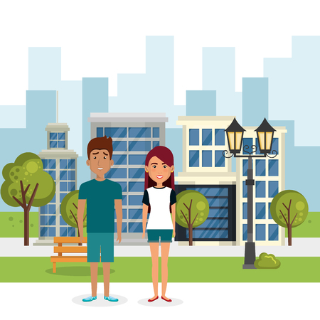 couple of lovers in the park vector illustration design Stock Vector - 97401692