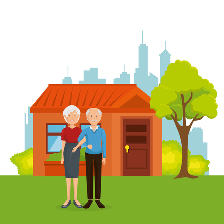 couple of grandparents away from home vector illustration design