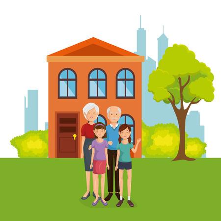 family members away from home vector illustration design Illustration