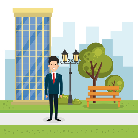 young man outside house vector illustration design