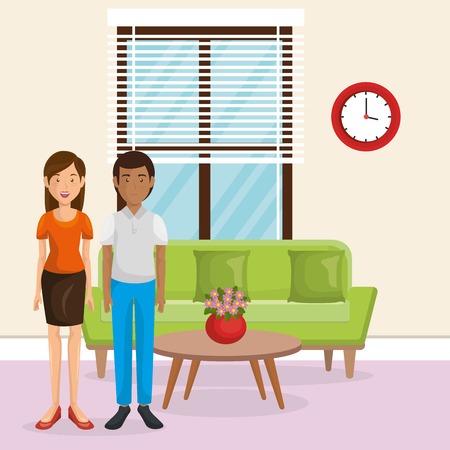couple lovers in the living room vector illustration design