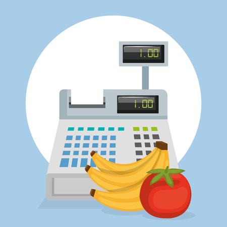 cash register with groceries vector illustration design Ilustração