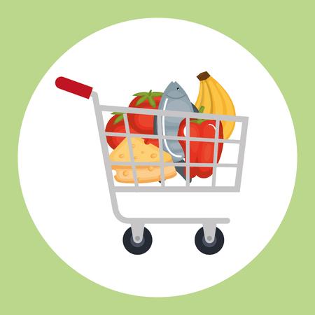 supermarket shopping cart with groceries vector illustration design Illustration