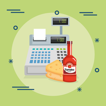 cash register with groceries vector illustration design Illustration