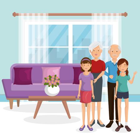family members in the living room vector illustration design Illustration