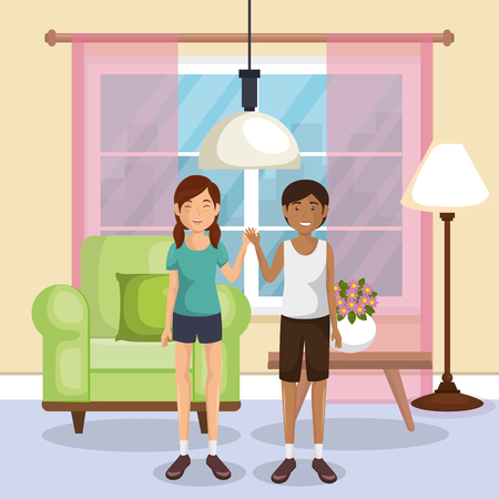 family members in the living room vector illustration design Çizim