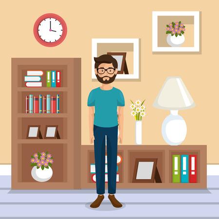family member in the living room vector illustration design Vettoriali