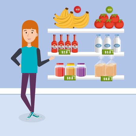 Consumer with supermarket groceries vector illustration design Illustration