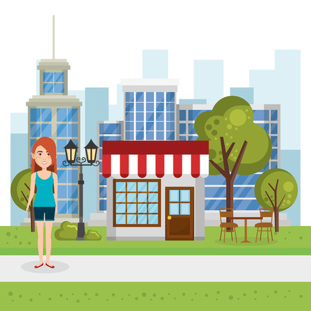 young woman outside house vector illustration design
