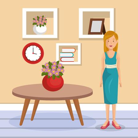 family member in the living room vector illustration design Illustration