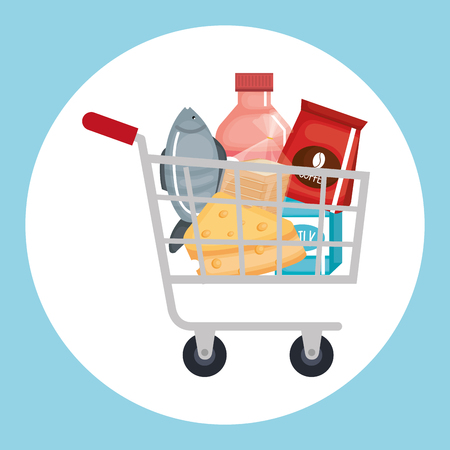 supermarket shopping cart with groceries vector illustration design Vettoriali