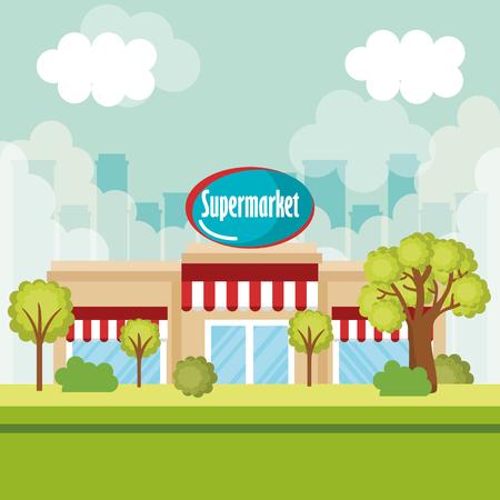 supermarket building front scene vector illustration design