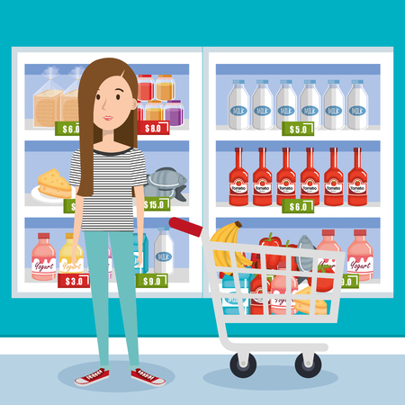 consumer with shopping cart of groceries vector illustration design Illustration