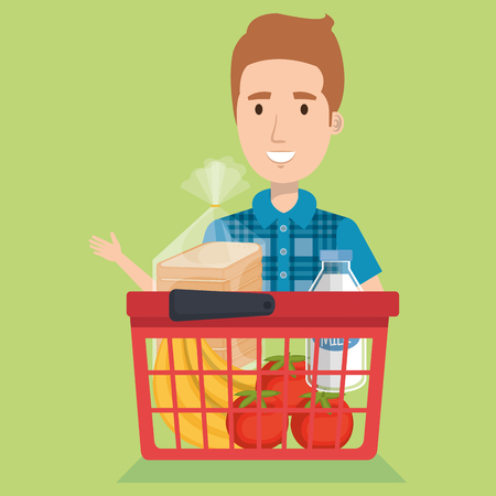 consumer with shopping basket of groceries vector illustration design