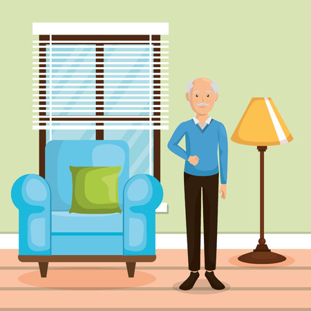 family member in the living room vector illustration design Çizim