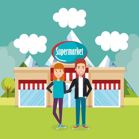 couple outside supermarket building scene vector illustration design Imagens - 97385455