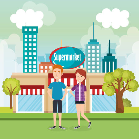 couple outside supermarket building scene vector illustration design Illustration