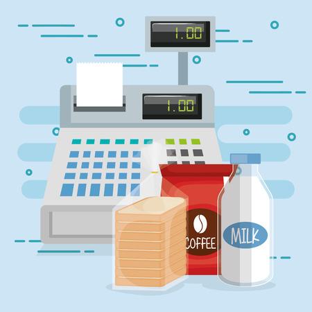 cash register with groceries vector illustration design Stock Illustratie