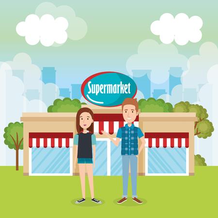 couple outside supermarket building scene vector illustration design 일러스트