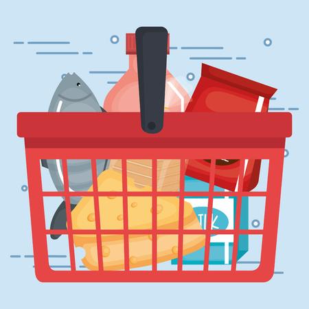 supermarket shopping basket with groceries vector illustration design