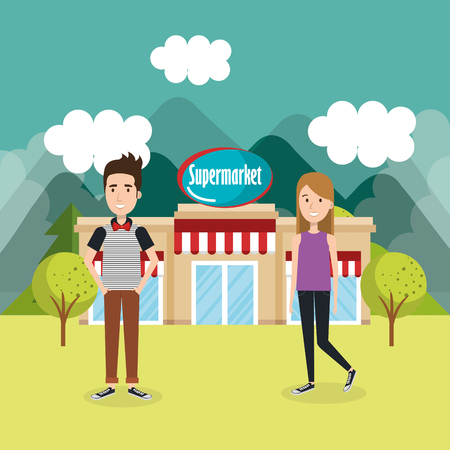 couple outside supermarket building scene vector illustration design 向量圖像