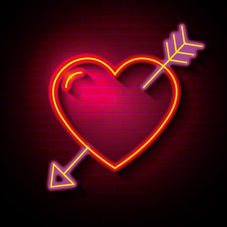 ネオンライトベクトルイラストデザインの愛のポスター