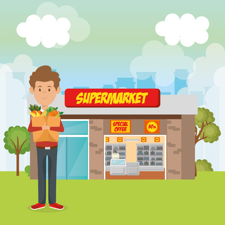 consumer with shopping bag of groceries vector illustration design Stock Vector - 97383084