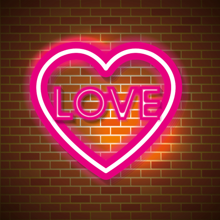 love poster with neon lights vector illustration design
