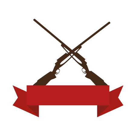 rifles crossed isolated icon vector illustration design Illustration