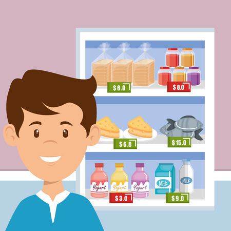 consumer with supermarket groceries vector illustration design