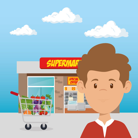 consumer with shopping cart of groceries vector illustration design 向量圖像