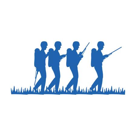 soldiers trops silhouette icon vector illustration design