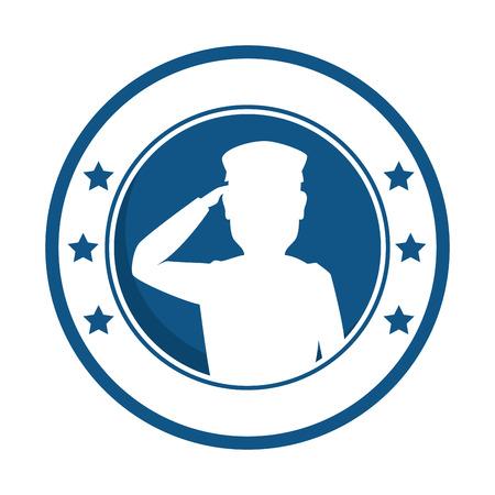 silhouette of soldier saluting emblem vector illustration design 版權商用圖片 - 97383239