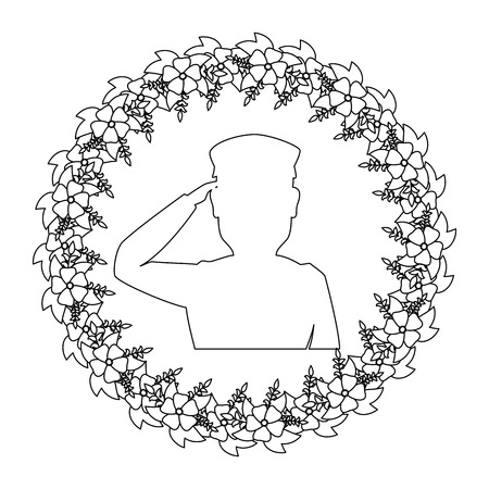 silhouette of soldier saluting with wreath flowers vector illustration design 向量圖像