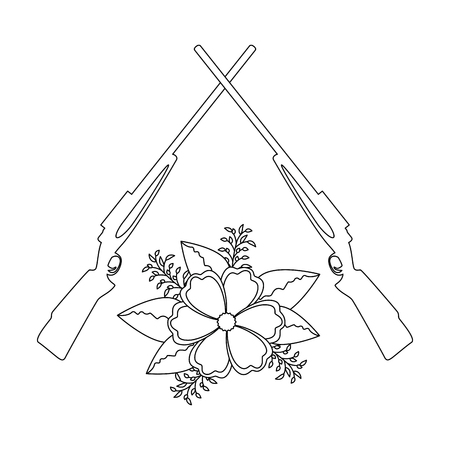 rifles crossed with flowers vector illustration design 向量圖像