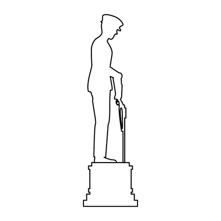 statue of soldier with rifle presenting respect vector illustration design Illustration