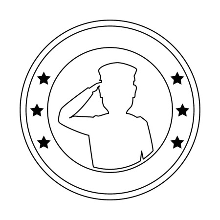silhouette of soldier saluting emblem vector illustration design