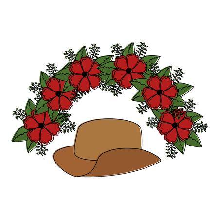 cowboy hat with flowers vector illustration design Illustration