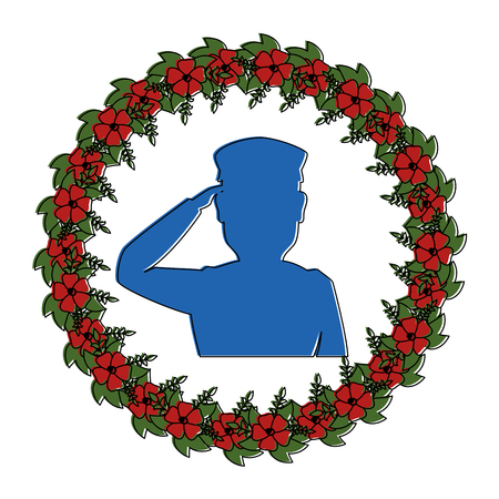 silhouette of soldier saluting with wreath flowers vector illustration design Ilustração