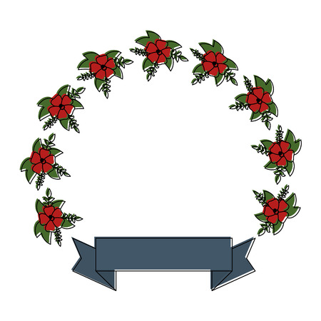 floral wreath crown frame with ribbon vector illustration design