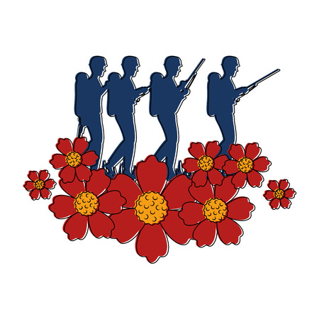 soldiers trops silhouette with flowers vector illustration design
