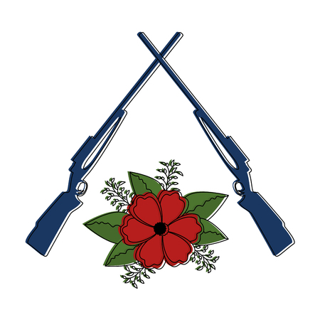 rifles crossed with flowers vector illustration design Stock Illustratie