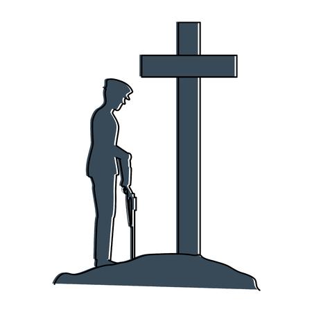 クロスイラストデザインに敬意を表したライフルを持つ兵士のシルエット  イラスト・ベクター素材