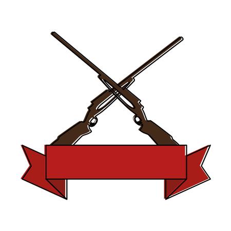 rifles crossed isolated icon vector illustration design Vettoriali