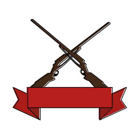 rifles crossed isolated icon vector illustration design Vectores
