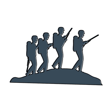 soldiers trops silhouette icon vector illustration design