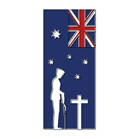 silhouette of soldier with rifle presenting respect and flag vector illustration design