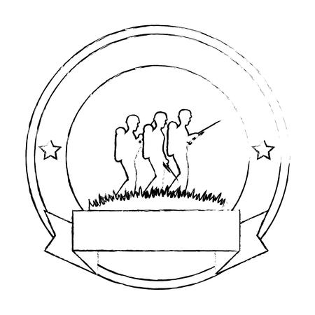 soldiers trops silhouette emblem vector illustration design Illustration