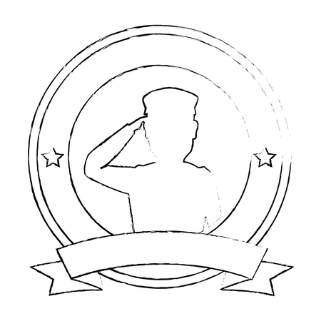 silhouette of soldier saluting emblem vector illustration design
