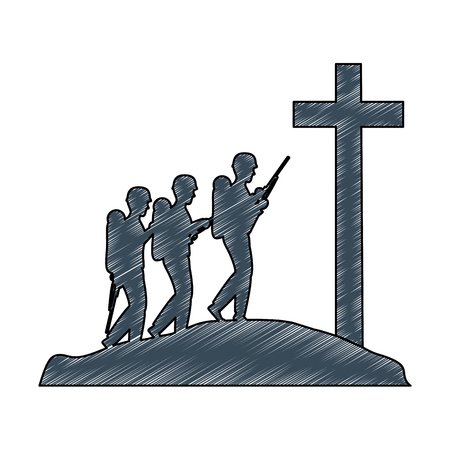 soldiers trops silhouette with cross vector illustration design Illustration